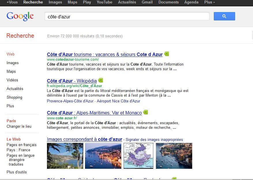 Recherche universelle Google côte d'azur